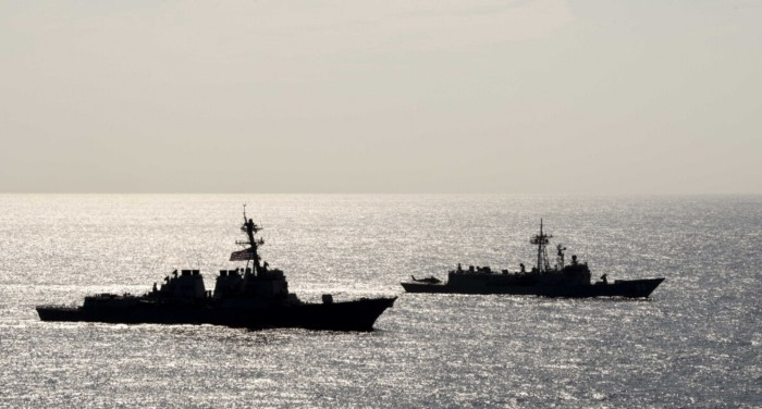 An American destroyer USS Preble and an Australian frigate, HMAS Melbourne, sail together in the Philippine Sea. Picture: Mass Communication Specialist 1st Class Bryan Niegel/Navy, Released, featured in Africa PORTS & SHIPS maritime news