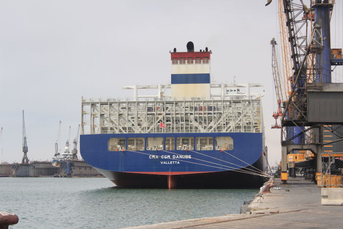 CMA CGM Danube at Port of Walvis Bay. Picture courtesy: Namport, featured in Africa PORTS & SHIPS maritime news