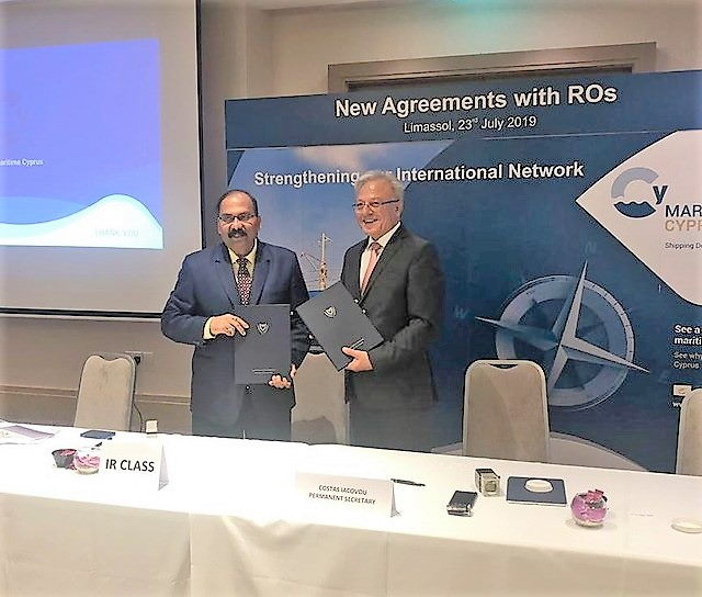 Praveen Mishra, IRClass' Vice President & Regional Manager (EU & Americas)[left], and Cyprus Shipping Deputy Ministry's Permanent Secretary, Costas Iacovou show the signed the RO agreements, as reported in Africa PORTS & SHIPS maritime news