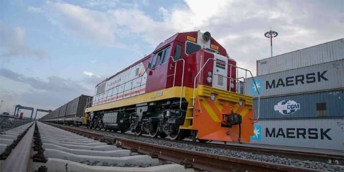 Kenya SGR freight train lined up and ready to roll, as reported in Africa PORTS & SHIPS maritime news