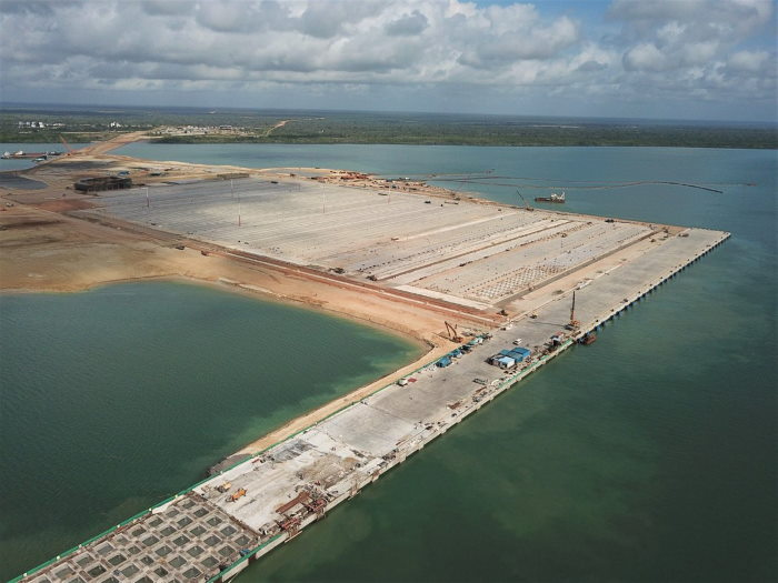 Lamu new port in an earlier stage of construction, phase one., featured in Africa PORTS & SHIPS maritime news