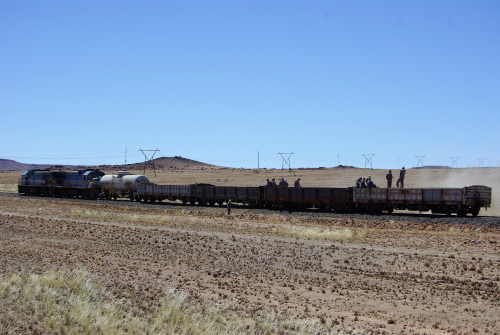 Lüderitz railway scene, maintenance train at work in the desert. Picture by Theo Strauss and featured in Africa PORTS & SHIPS maritime news