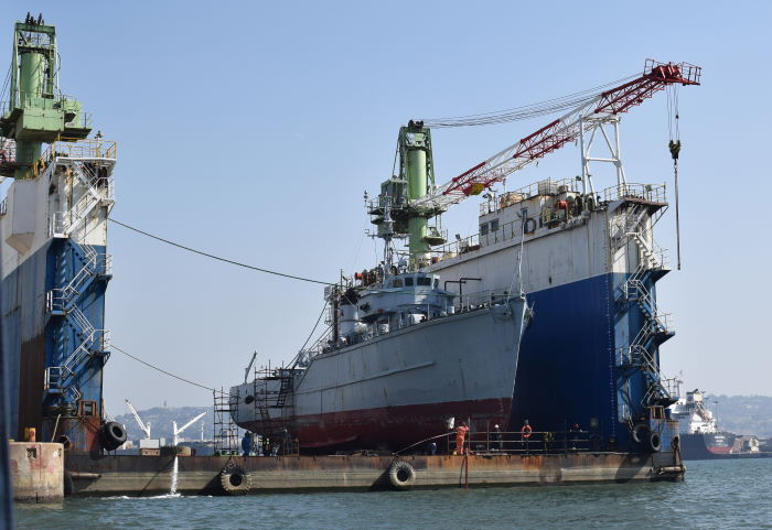 SAS Durban on SASDock at the SA Shipyards, featured in Africa PORTS & SHIPS maritime news