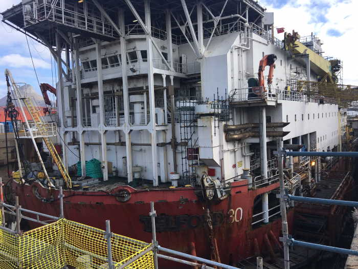 Jascon 30, a DP3 pipelay and accommodation vessel, recently docked at Sturrock Dry Dock for refurbishments. Pictures: TNPA, Featured in Africa PORTS & SHIPS maritime news