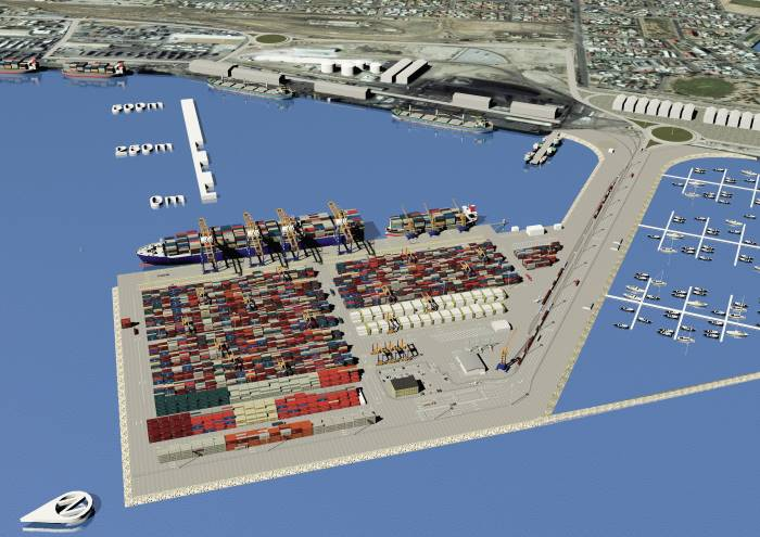 artist drawing of the new container terminal at Walvis Bay, featured in Africa PORTS & SHIPS maritime news