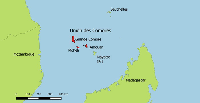 map showing location of Comoros islands in the Indian Ocean, featured in a report in Africa PORTS & SHIPS maritime news