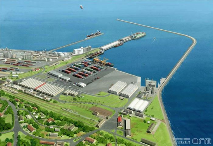 Takoradi - the grey area adjacent to the container terminal is where the Multi-Purpose Terminal is to be developed,featured in Africa PORTS & SHIPS maritime news