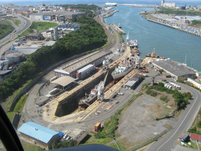 An overview of the Princess Elizabeth Dry Dock in the Port of East London, featured in Africa PORTS & SHIPS maritime news