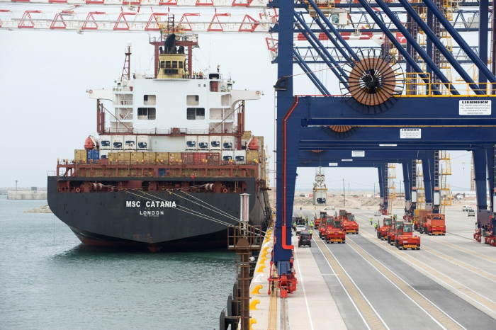 A daytime view of MSC Catania alongside on 4 October 2009, featured in Africa PORTS & SHIPS maritime news