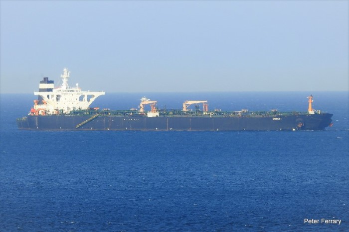 Grace 1 at anchor off Gibraltar, Picture Peter Ferrary / Shipspotting, featured in Africa PORTS & SHIPS maritime news
