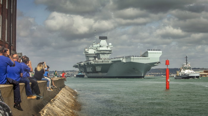 30 August 2019, HMS Queen Elizabeth, the nation's largest ever aircraft carrier set sail from HM Naval Base Portsmouth to take up her second deployment to the United States. She will take part in Exercise Westlant 19 alongside HMS Northumberland, HMS Dragon and American counterparts and will return home before Christmas. Picture: MoD Crown Copyright 2019 ©, featured in Africa PORTS & SHIPS maritime news