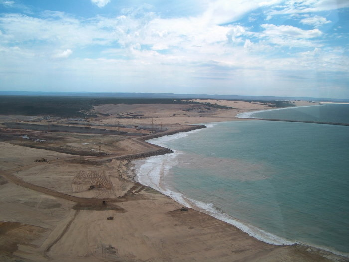 Just over five years earlier, on 30 January 2004, this was what the future port of Ngqura looked like from the air. Picture: Terry Hutson, featured in Africa PORTS & SHIPS maritime news