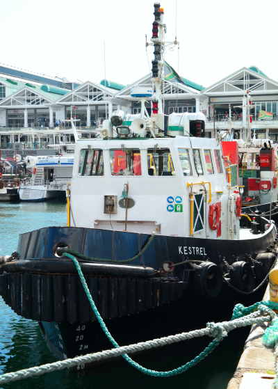 workboat Kestrel at Cape Town port, featured in Africa PORTS & SHIPS maritime news