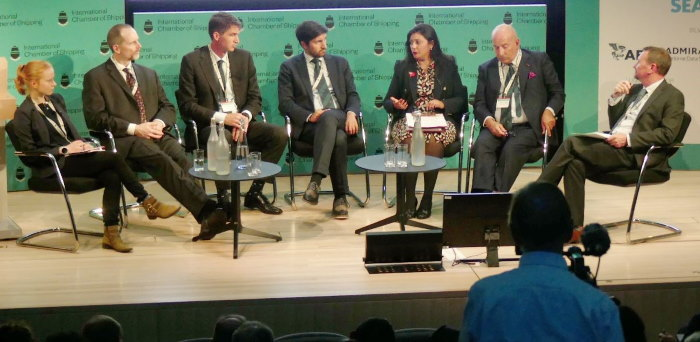 Third from right Rt Hon Nusrat Ghani MP, Parliamentary Under Secretary of State for Maritime, Department for Transport with the panel. Illustrations kindly provided by ICS ©, featured in Africa PORTS & SHIPS maritime news