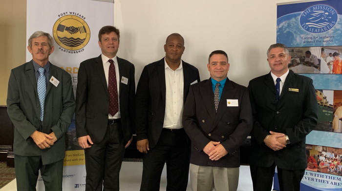 Left to Right: Revd Loffie Schoeman (Christian Seamen's Organisation), Mr Peter Cottrell (representing IPWP), Mr Thami Sithole (TNPA Port Manager Richards Bay), Mr Adrian Lee (SAASOA), Chaplain Mark Classen (Mission to Seafarers), featured in Africa PORTS & SHIPS maritime news