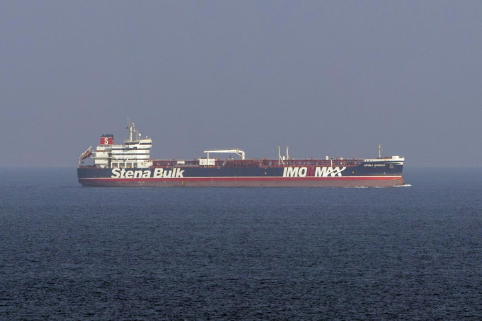 Images of the mv Stena Impero, seen here sailing from Bandar Abbas (Iran), en route to Dubai after being released by Iranian officials on 27 September. These images were taken on board a Royal Navy Wildcat helicopter patrolling the Gulf as part of the International Maritime Security Construct. Picture: MoD Crown Copyright 2019 ©, featured in Africa PORTS & SHIPS maritime news