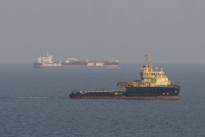 Images of the mv Stena Impero, seen here sailing from Bandar Abbas (Iran), en route to Dubai after being released by Iranian officials on 27 September. These images were taken on board a Royal Navy Wildcat helicopter patrolling the Gulf as part of the International Maritime Security Construct. The second vessel in the lower picture is the service vessel Mubarak Spirit. Picture: MoD Crown Copyright 2019 ©, featured in Africa PORTS & SHIPS maritime news