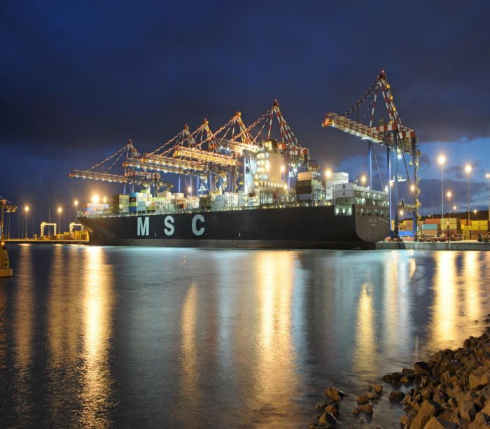 MSC Catania on berth at the Port of Ngqura, the first commercial vessel to use the port. Picture: TNPA, featured in Africa PORTS & SHIPS maritime news