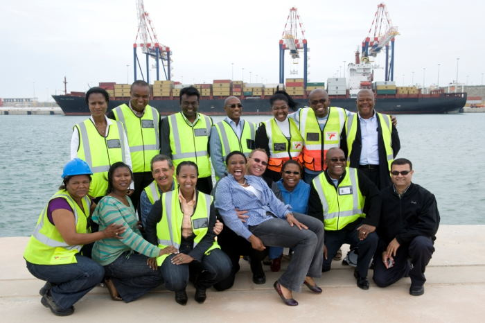 The Transnet team in 2009 with MSC Catania in the background, featured in Africa PORTS & SHIPS maritime news