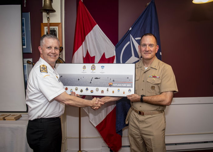 Reported on 20 September from St John's, Newfoundland US Navy Rear-Admiral Edward Cashman, right, commander of Standing NATO Maritime Group One (SNMG1), and Royal Canadian Navy Vice-Admiral Art McDonald, commander of the Royal Canadian Navy, pose for a photo during a debriefing on the completion of exercise Cutlass Fury 2019. featured in Africa PORTS & SHIPS maritime news