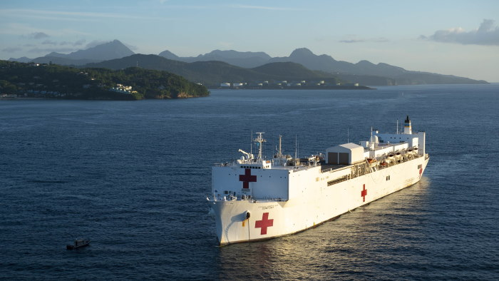 In the Eastern Caribbean on 25 September the hospital ship USNS Comfort (T-AH 20) is seen anchored off the coast of Castries, Saint Lucia during its six-day medical mission, featured in Africa PORTS & SHIPS maritime news