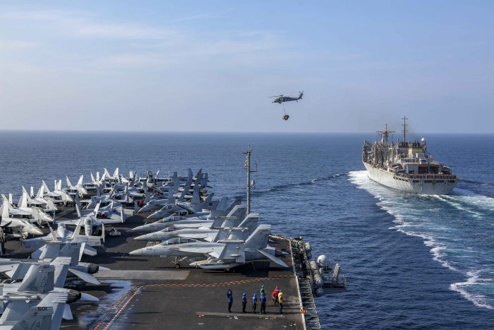 USS Abraham Lincoln about to refuel at sea, featured in Africa PORTS & SHIPS maritime news. USN picture