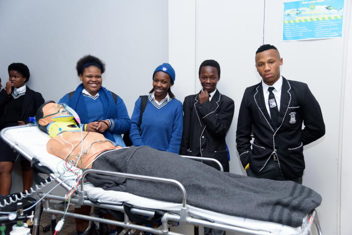 Learners from Philemon Ngcelwane High School who explored a career in emergency medical services (maritime search and rescue) were from left Kamvelihle Ngqotywa, Thandile Mko, Bolana Onele and Xelionkomo Yamkela, featured in Africa PORTS & SHIPS maitime news