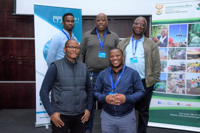 The Task Team: Role-players from the national maritime awareness task team who participated in discussions on collaborating to work together to build a maritime culture in South Africa were in front from left Sabelo Mbuku (TETA) and Masande Peyi (Department of Basic Education). In the back from left were Sivuyile Mpiyane (Department of Basic Education), Nceba Mashalaba (Department of Basic Education) and Lulamile Stuurmans (Department of Tourism), featured in Africa PORTS & SHIPS maritime news
