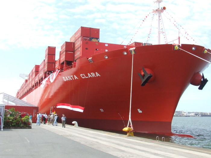 Santa Clar at christening in Durban January 2011, picture by Terry Hutsonfeatured in Africa PORTS & SHIPS maritime news