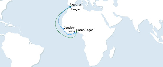 Map of rotation of CMA CGM's Guinea Gulf Express, featured in Africa PORTS & SHIPS maritime news