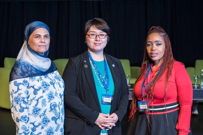 Pictured during the final day of the Forward Thinking for Maritime Education and Training Excellence conference hosted by the South African International Maritime Institute (SAIMI) in Durban this week were from left SAIMI Operations Director Soraya Artman, World Maritime University Associate Professor Momoko Kitada, and SAIMI Senior Manager for Operation Phakisa Skills Initiatives, Nwabisa Matoti, featured in Africa PORTS & SHIPS maritime news
