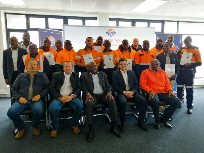 Some of the graduates who successfully underwent training on the new STS cranes at the Port of Walvis Bay, featured in Africa PORTS & SHIPS maritime news