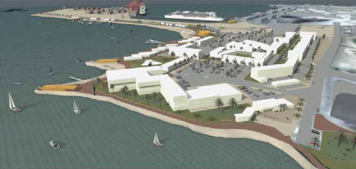 The proposed Walvis Bay Waterfront development adjacent to the port and cruise jetty, featured in Africa PORTS & SHIPS maritime news