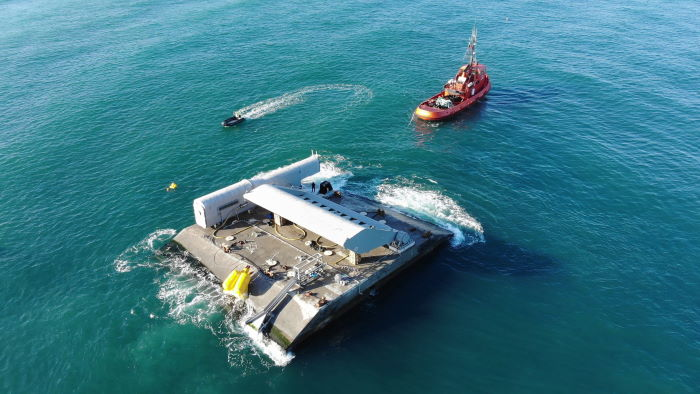 WaveRoller® towed in to position off the coast at Peniche in Portugal, featured in Africa PORTS & SHIPS maritime news