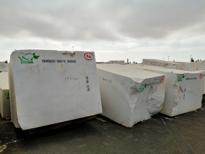 Blocks of white marble at Port of Walvis Bay, being exported to Italy, featured in Africa PORTS & SHIPS maritime news