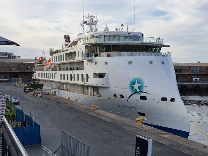Greg Mortimer on her berth at the Cape Town Cruise Terminal. All picture by Ian Shiffman, featured in Africa PORTS & SHIPS maritime news