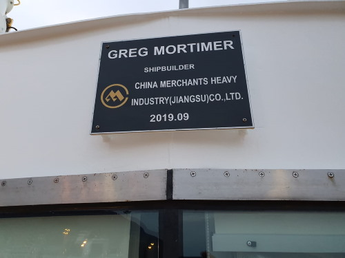 Greg Mortimer's builder plate, featured in Africa PORTS & SHIPS maritime news