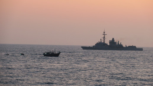 FS Jean Bart stands watch as her sea boats close in on the suspicious vessel, as featured in Africa PORTS & SHIPS maritime news