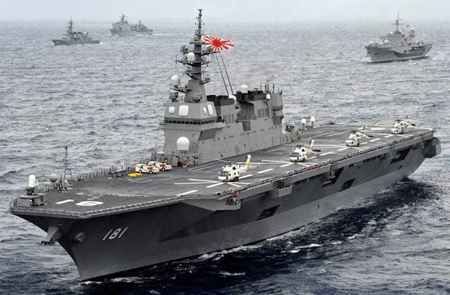A Japanese Navy Izumo-class helicopter carrier, referred to as a 'destroyer', featured in Africa PORTS & SHIPS maritime news