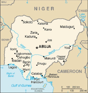 Map of Nigeria, which shares land borders with Benin, Niger, Chad (lake border), and Cameroon, Featured in Africa PORTS & SHIPS maritime news
