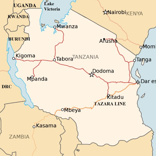 The Tanzanian SGR line closely follows the route of the existing metre-gauge railway shown here on the map, from Dar es Salaam through Dodoma to Tabora and to Mwanza. A later extension to Kigoma on Lake Tanganyika can be expected, featured in Africa PORTS & SHIPS maritime news