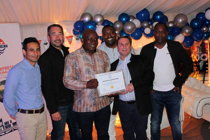 The Walvis Bay Port Users Association handed over a certificate of appreciation to Namport- certificate handed over by Chairman of the Walvis Bay Port Users Association, Mr Willie Prosser to Namport's Acting CEO, Mr Kavin Harry, featured in Africa PORTS & SHIPS maritime news