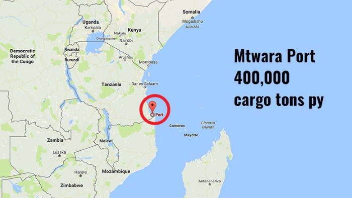 Map of Tanzania with location of Mtwara port, featured in Africa PORTS & SHIPS maritime news