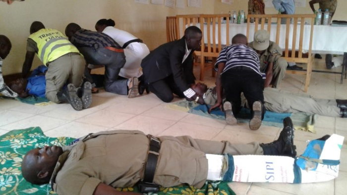 Police officers training for a mass casualty scenario, featured in Africa PORTS & SHIPS maritime news