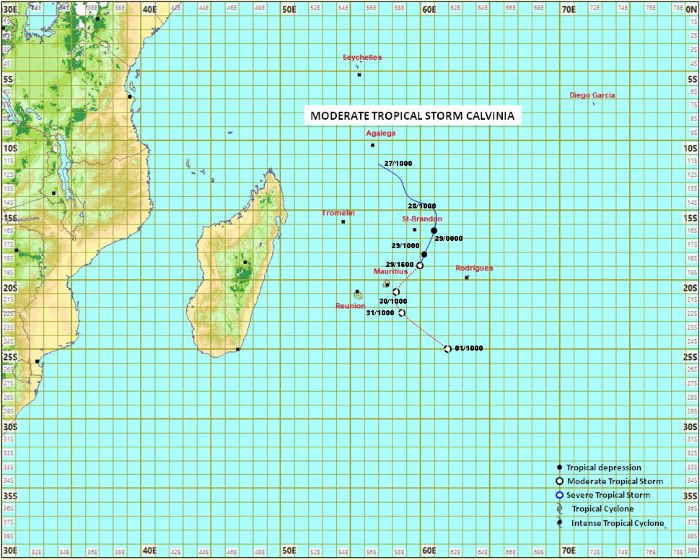 Cyclone Calvinia 05S, map Mauritius Meteorological Services