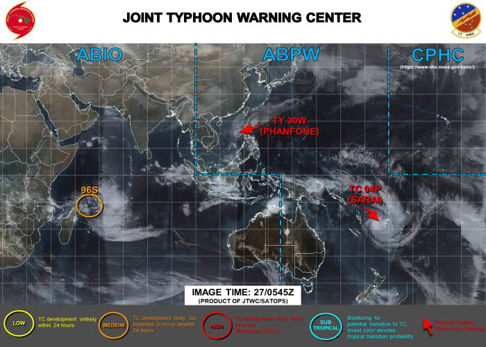 Cyclone alart 96S, 569 miles NNW of Mauritius, featured in Africa PORTS & SHIPS