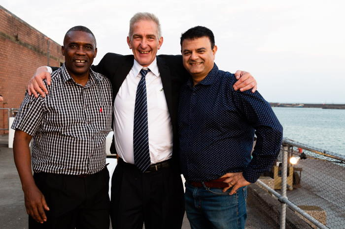 Celebrating the milestone in the Port of PE are from the left Wandile Mzamo (Director Strategy & Corporate Affairs, BPO), Jannie Roux (MD, BPO) and Sujit Bhagattjee at the opening of the BPO Port Elizabeth multi-purpose terminal, featured in Africa PORTS & SHIPS maritime news