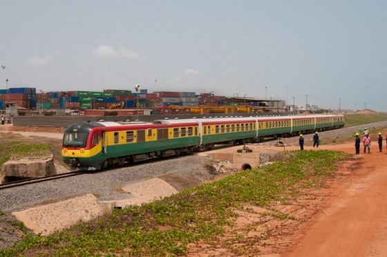 Ghana Railways train en route between Accra and Tema, featured in Africa PORTS 7 SHIPS maritime news