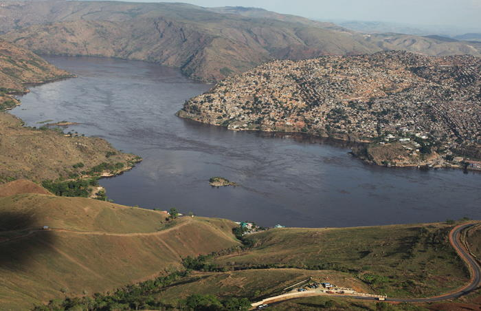 Aerial view of the Congo river at Matadi, featured in Africa PORTS & SHIPS