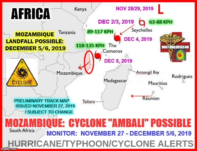 Projected track of Ambali, featured in Africa PORTS & SHIPS maritime news